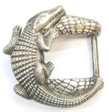 Jeff Deegan Sterling Silver Alligator Belt Buckle