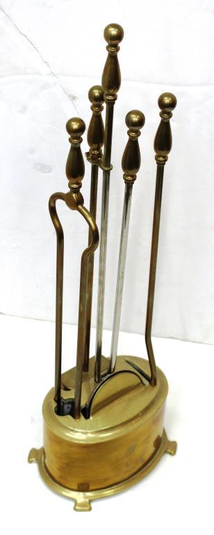 Set of Vintage Brushed Brass Fireplace Tools