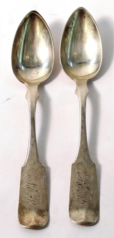 2 Philadelphia Silver Spoons, First Half 19th C.