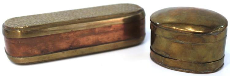 Antique Dutch Brass & Copper Tobacco Box & Rasp