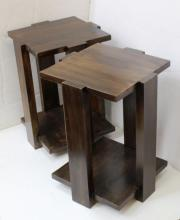 Pair of Contemporary Stained Wood Lamp Tables