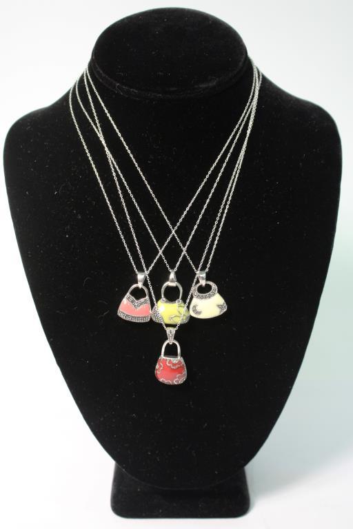 4 Sterling, Marcasite & Enamel Necklaces