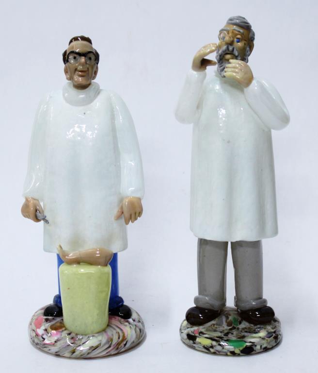 2 Murano Blown Glass Doctor Figurines