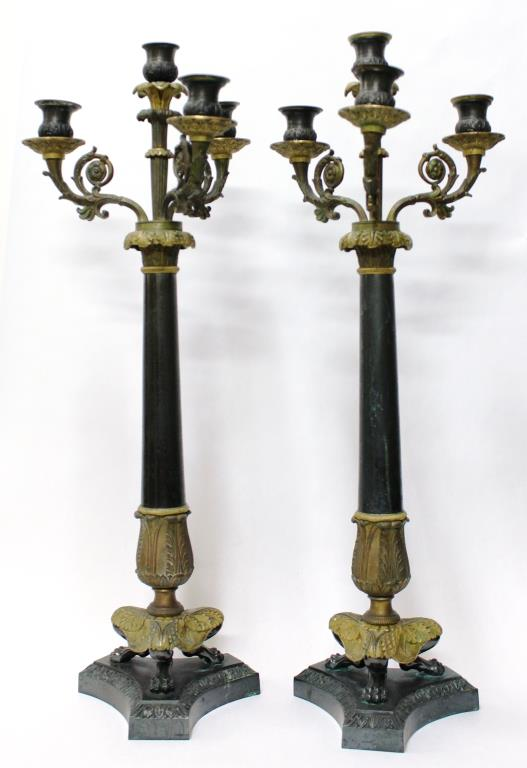Pair Empire-Style Black & Gilt Bronze Candlesticks