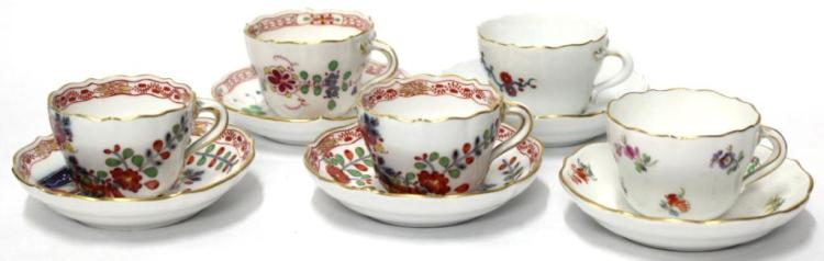 5 Vintage Meissen Demitasse Cups & Saucers