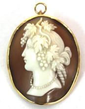 Large Antique Shell Cameo in 14K Gold Frame
