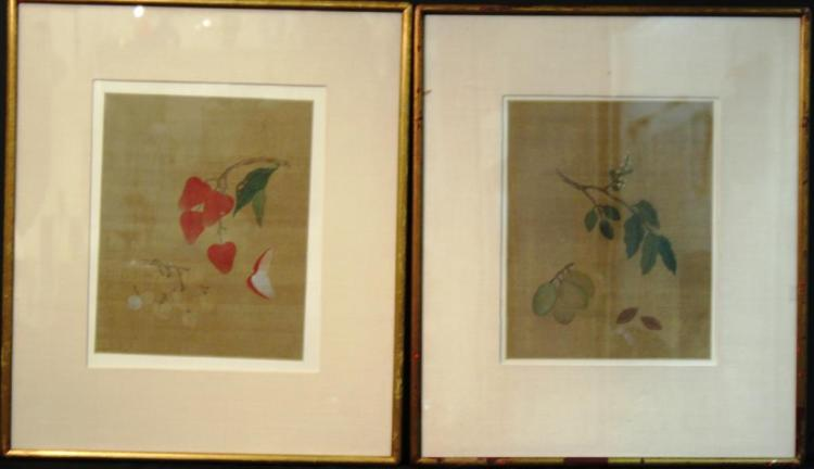 Pair of Chinese Ink on Silk Fruit Paintings