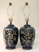 Pair of Hand-Blown Glass Table Lamps
