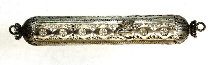 Silver Filigree Mezuzah Holder