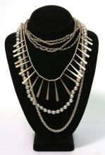 2 Silver Chains & 2 Silver Bead Necklaces