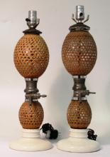 Pair of Antique French Gazogene Briet Table Lamps