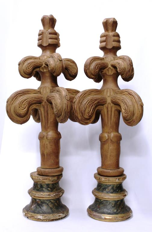 Pair of Carved & Faux-Painted Finials