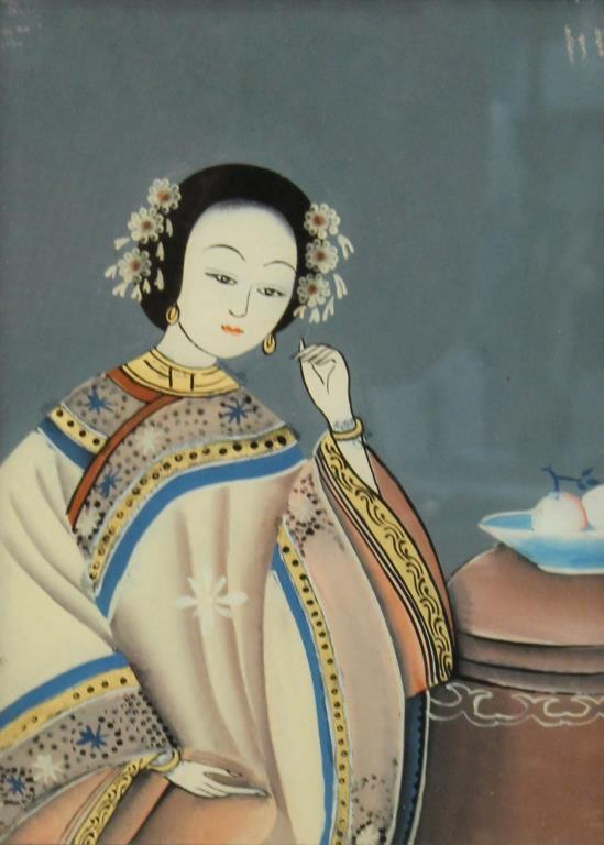 Verre Eglomise Portrait of a Young Chinese BeWoman
