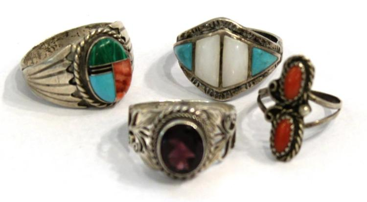 4 Native American Silver, Coral, & Turquoise Rings