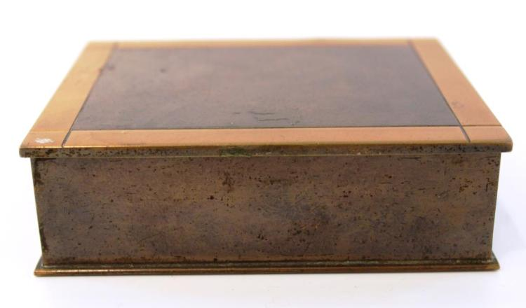 Art Deco Bronze & Copper Cigarette Box, 1920s