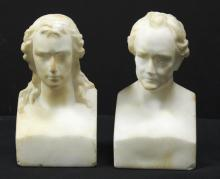 Pair of Vienna Marble Busts of Schiller & Goethe