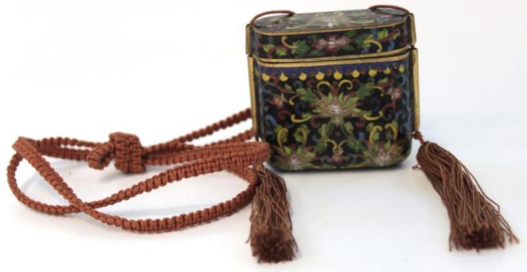 Antique Chinese Cloisonné Opium Box Necklace
