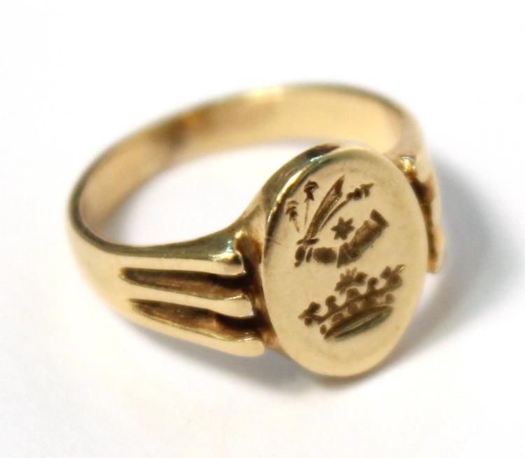 Tiny 14K Gold Signet Ring