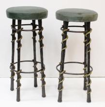 Pair of Wrought Iron & Butter Leather Bar Stools