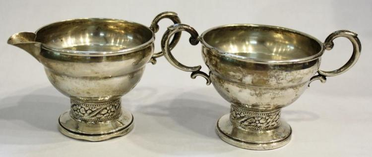Sterling Neoclassical-Style Creamer & Sugar Set