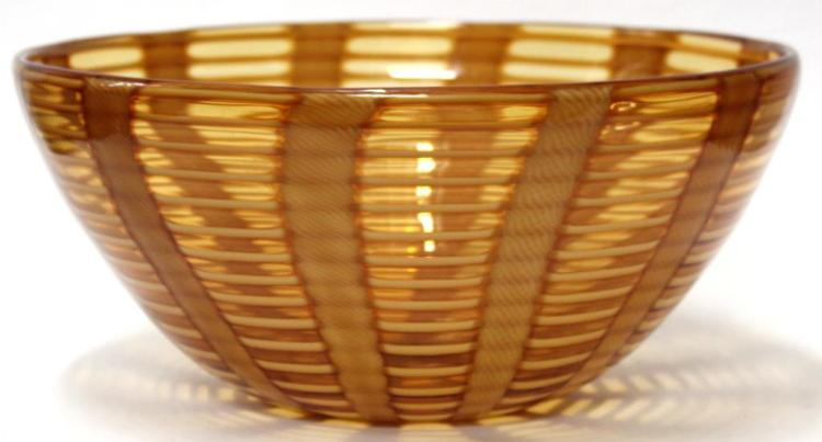 Gino Cenedese Murano Harvest Gold-Striped Bowl