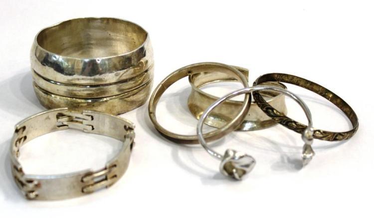7 Assorted Silver Bracelets