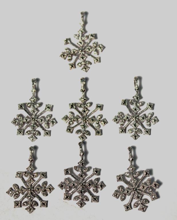 7 Sterling & Glass Snowflake Pendants