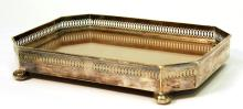 Small Silver-Plate & Walnut Gallery Tray