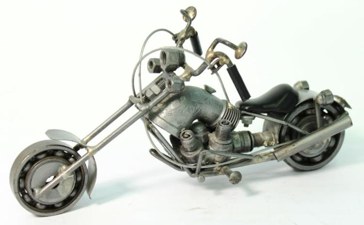 Found-Object Tabletop Sculpture of a Motorcycle