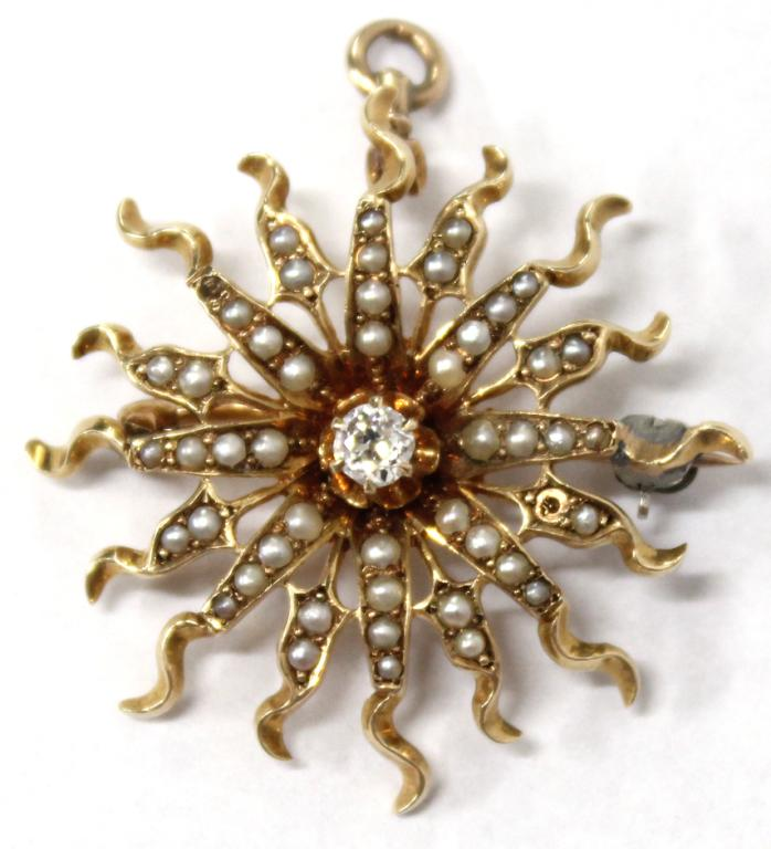 14K Gold, Diamond, & Pearl Sunburst Brooch-Pendant