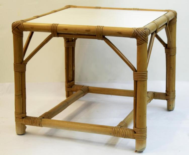 Woven Bamboo & White Formica Low Table