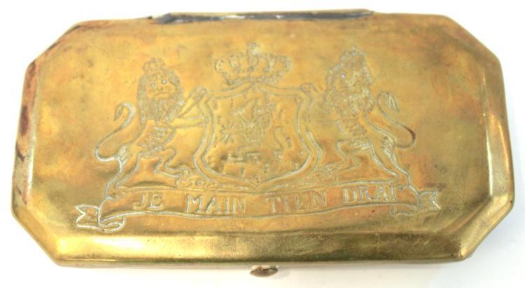 Antique Dutch Brass & Copper Tobacco Box