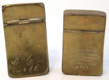 2 Antique Continental Brass Snuff Boxes, 19th C.