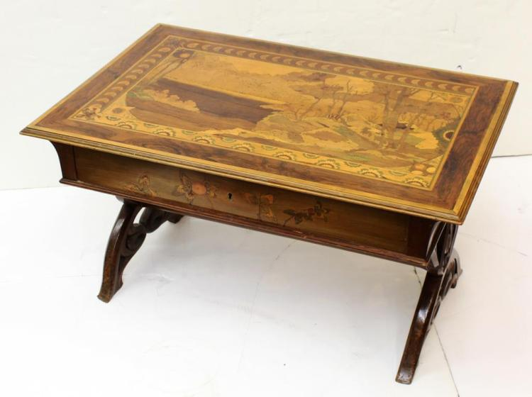 Vintage Marquetry-Top Coffee Table