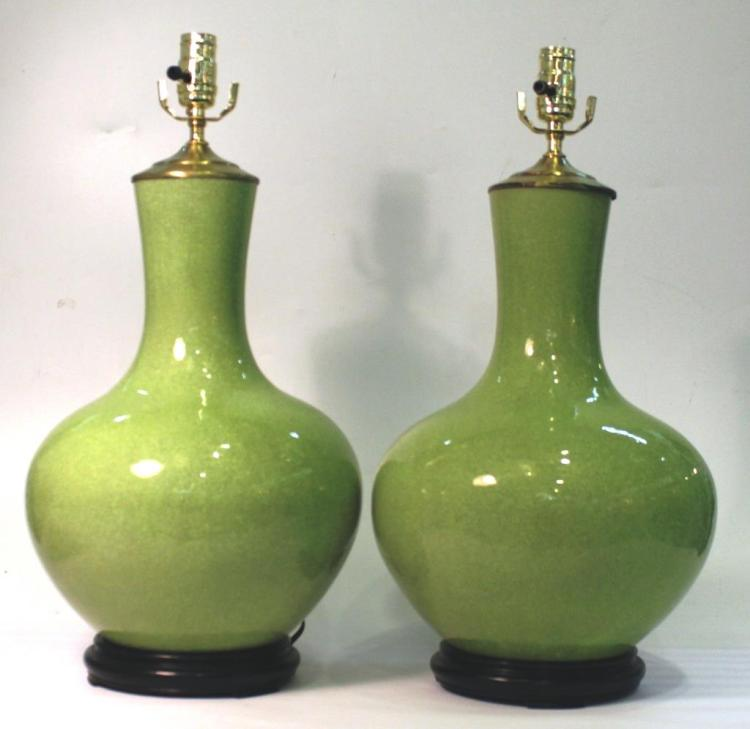 Pair of Chinese Crackle Glaze Ball Vases