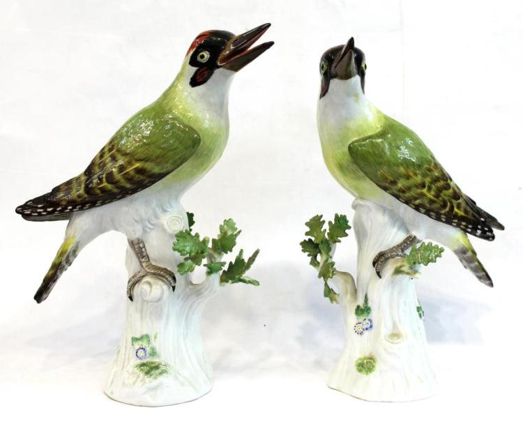 Pair of Large Meissen Porcelain Woodpeckers