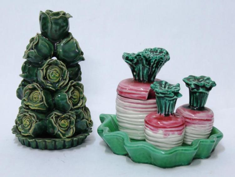 French Hand-Painted Ceramic Vegetable Group