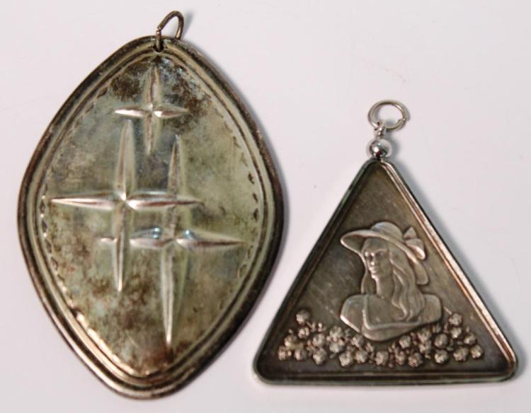 2 Vintage Sterling Pendants / Ornaments