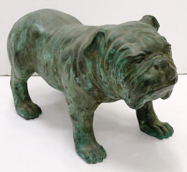 Vintage Life-Size Cast Copper Bulldog Figure