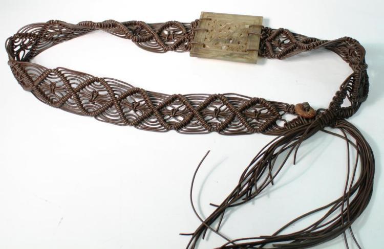 Vintage Chinese Hardstone & Macramé Belt