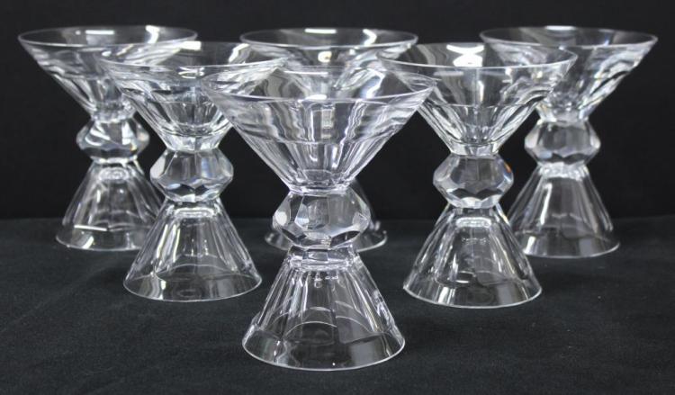 6 St. Louis Cristal 2-Parison Martini Glasses