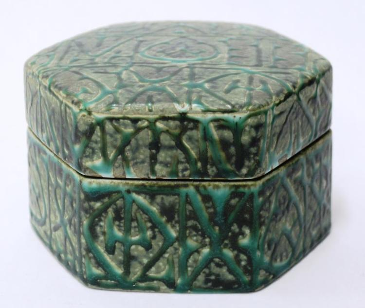 Danish Green Slip-Glazed Hexagonal Pottery Box