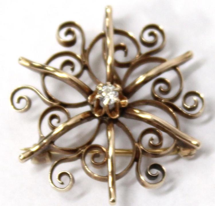 10K Gold & Diamond Brooch-Pendant