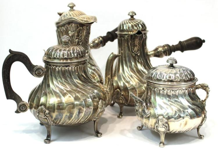 French Silver Antique Tea, Coffee, & Chocolate Set