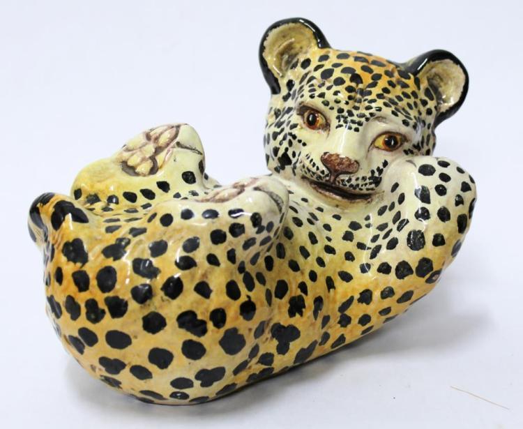 Italian Majolica Painted Ceramic Baby Leopard