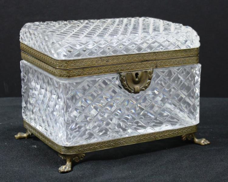 Large Bohemian Lead Cut Crystal Ormolu-Mounted Box