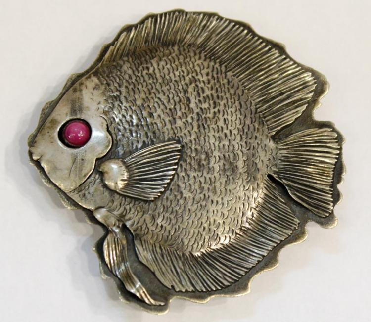 Sterling & Star Sapphire Fish-Form Buckle