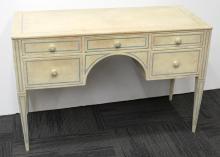 Cream & Turquoise Craquelure-Painted Writing Desk