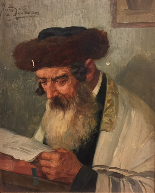 Portrait of a Rabbi Reading, 20th C.-Oil on Board