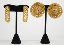 2 Pairs of Dominique Aurientis Costume Earrings